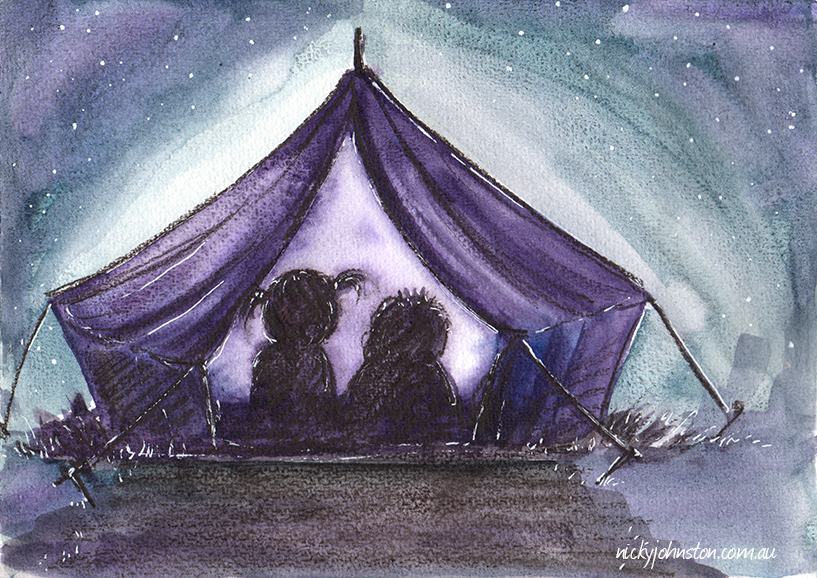 nicky-johnston-illustration-challenge-watercolour-camping